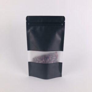 ถุงซิปล็อค ถุงกระดาษคราฟท์ ถุงคราฟท์ มีหน้าต่าง ตั้งได้ สีดำ 12×20ซม. [50 ใบ]