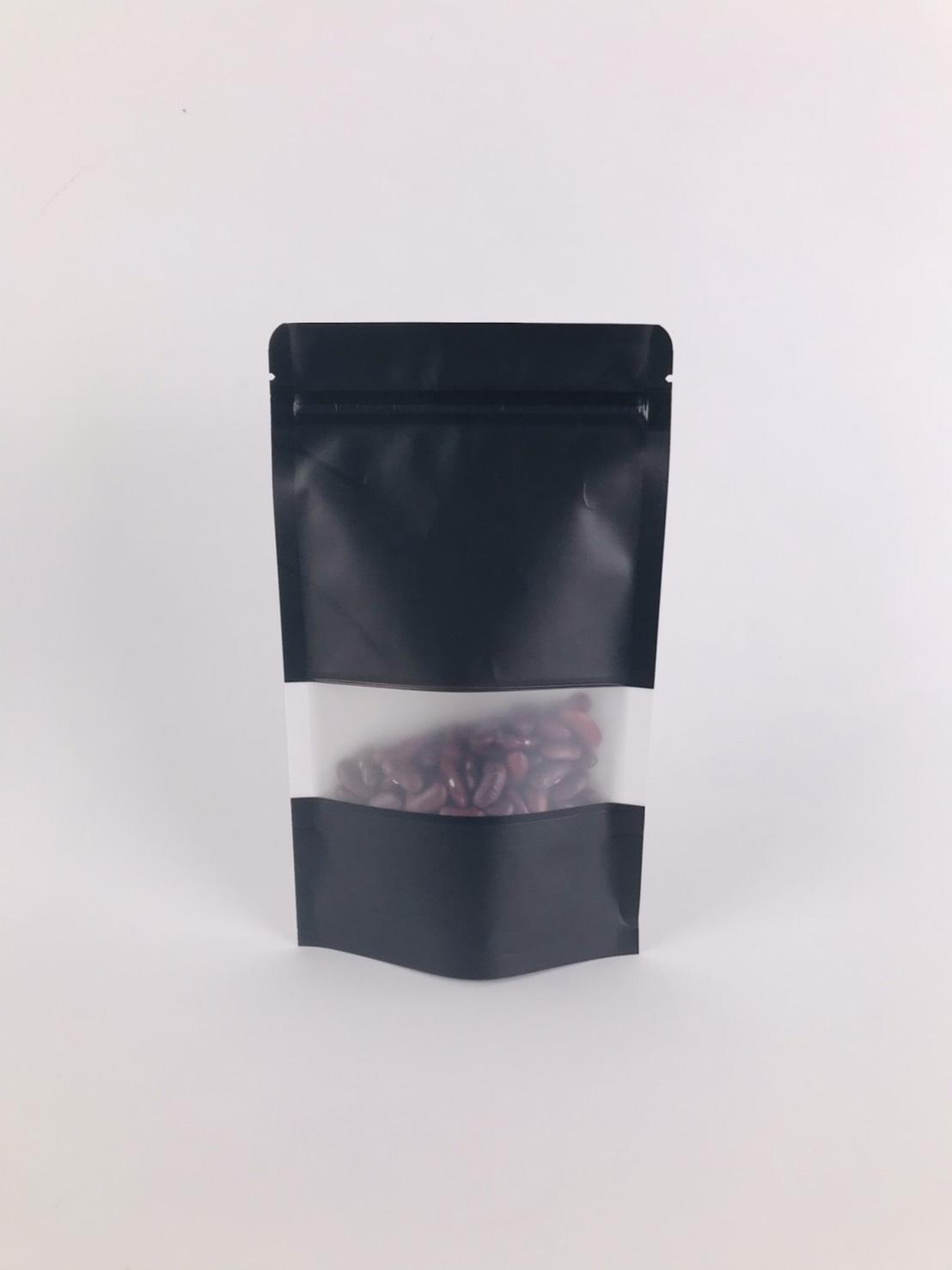 ถุงซิปล็อค ถุงกระดาษคราฟท์ ถุงคราฟท์ มีหน้าต่าง ตั้งได้ สีดำ 10×15 ซม. [50 ใบ]