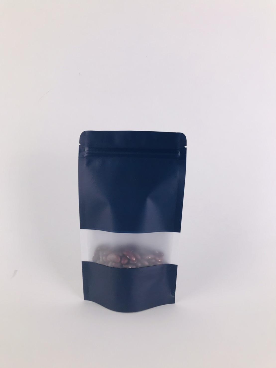 ถุงซิปล็อค ถุงกระดาษคราฟท์ ถุงคราฟท์ มีหน้าต่าง ตั้งได้ สีกรม 12×20 ซม. [50 ใบ]
