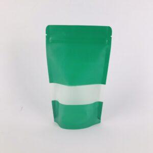 ถุงซิปล็อค ถุงกระดาษคราฟท์ ถุงคราฟท์ มีหน้าต่าง ตั้งได้ สีเขียว 10×15 ซม. [50 ใบ]