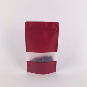ถุงซิปล็อค ถุงกระดาษคราฟท์ ถุงคราฟท์ มีหน้าต่าง ตั้งได้ สีแดง 12×20ซม. [50 ใบ]
