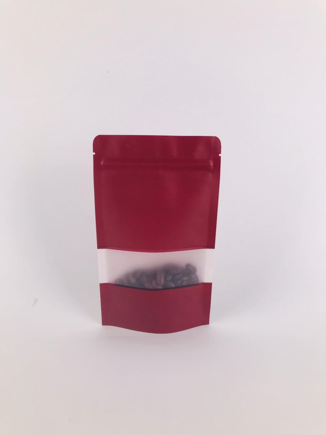 ถุงซิปล็อค ถุงกระดาษคราฟท์ ถุงคราฟท์ มีหน้าต่าง ตั้งได้ สีแดง 10×15 ซม. [50 ใบ]