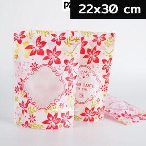 ถุงซิปล็อค ซิปล็อค ถุงขนม ลายดอกไม้สีแดง มีหน้าต่างตั้งได้
